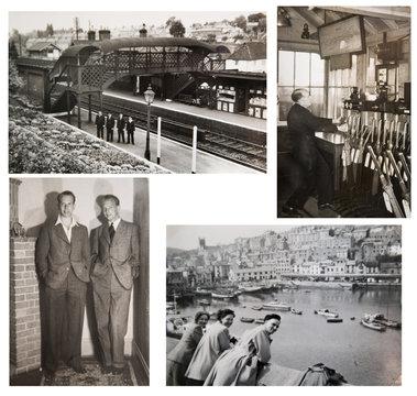 1940-1950s. English people travelling and enjoying the life. 1950s Fashion. London. Train station. Set of vintage photos.
