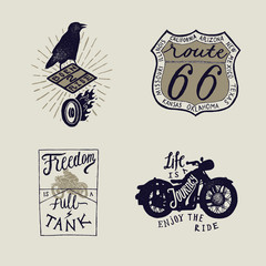Motorcycle t-shirt design set: born to ride - crow and wheel on fire, route 66 sign, freedom is a full tank, life is a journey - motorcycle print collection