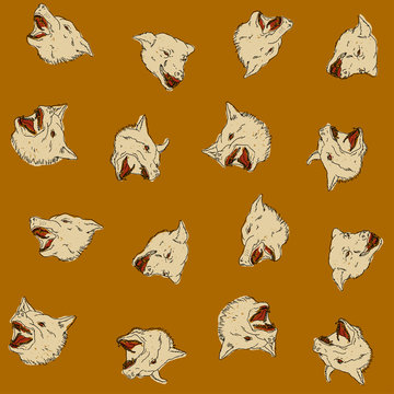 Angry barking dogs - white dog heads on aztec color seamless vector pattern