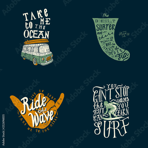 f396bca012 Surfing t-shirt design set: take me to the ocean - surfing van, surfboard  fin quote lettering, ride the wave shaka sign - hand gesture, you can learn  to ...