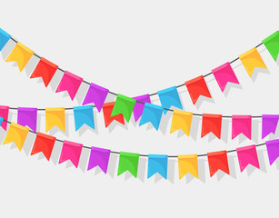 Banner with garland of colour festival flags and ribbons, bunting isolated on white background. Decoration, symbols for celebrate happy birthday party, carnaval, fair. Vector flat design