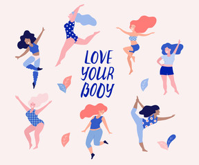 Happy dancing diverse women vector illustration. Love your body.