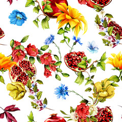 Seamless pattern. Pomegranate fruit, flowers and leaves on white. Abstract, hand drawn illustration. Watercolor, vector - stock.