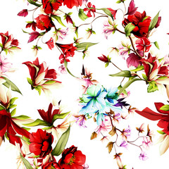 Seamless background pattern. Wild rosemary with pomegranate buds. Abstract, watercolor. Hand drawn, vector.