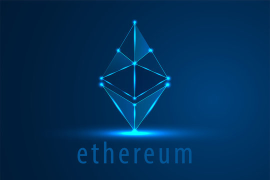 Ethereum symbol vector icon, technology, illustration