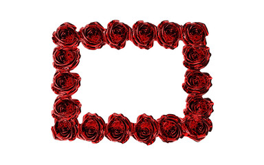 frame made of red roses isolated on white
