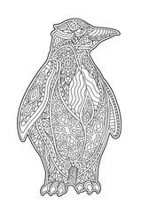 Beautiful zen art with decorative cartoon penguin