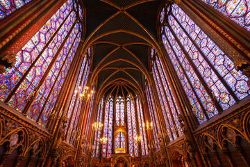 Stained glass windows of Saint Chapelle Wall mural
