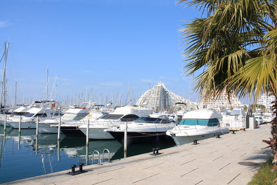 La Grande-Motte, a commune in the Herault departement in Occitanie in southern France. It is a popular seaside resort, marina and leisure center, one of the favorite resorts near Montpellier