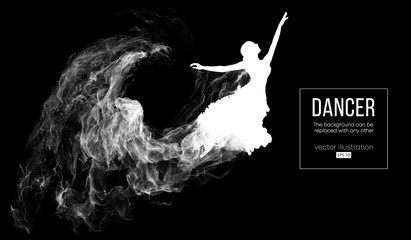 Abstract silhouette of a dencing girl, woman, ballerina on the dark, black background from particles. Ballet and modern dance. Background can be changed to any other. Vector illustration