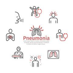 Pneumonia. Symptoms, Treatment. Line icons set. Vector infographics.