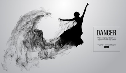 Abstract silhouette of a dencing girl, woman, ballerina on the white background from particles. Ballet and modern dance. Background can be changed to any other. Vector illustration