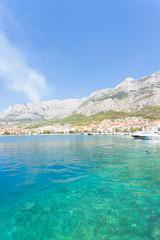 Makarska, Dalmatia, Croatia - A woman bathing at the bay of Makarska