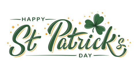 20aba7dcf004 Happy St. Patrick Day lettering poster with green shamrock and orange  stars. Irish traditional
