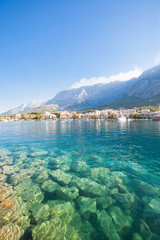 Makarska, Dalmatia, Croatia - Clear water of the Mediterranean Sea at Makarska