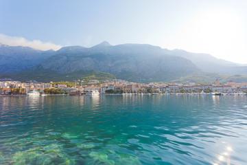 Makarska, Dalmatia, Croatia - Skyline of Makarska in front of the huge mountain massif