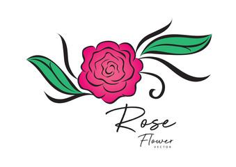 rose vector illustration. logo design. vintage flower style for valentines day card, fabric, wedding card, printing, banner, greeting card, website.