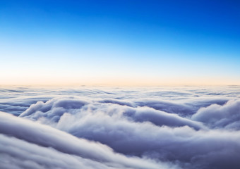 Beautiful sunrise cloudy sky from aerial view Wall mural