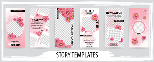 Trendy editable template for social networks stories, vector illustration.