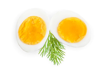 boiled egg and half isolated on white background. Top view.