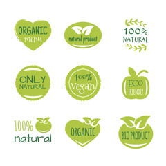 Eco food, organic bio products, eco friendly, vegan icons, ecology. Set of vector logo design elements