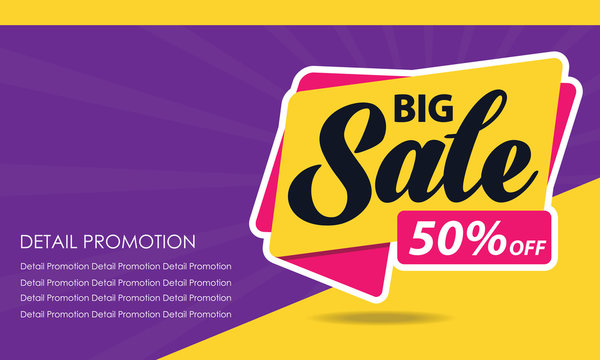 Big Sale Banner Template. Discount Up to 50%. Vector Template Poster Sale Promotion.