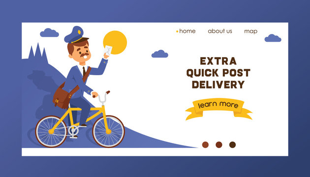 Postman vector landing web page mailman delivers mails in postbox or mailbox and post character mailed backdrop illustration postal delivery service web-page background