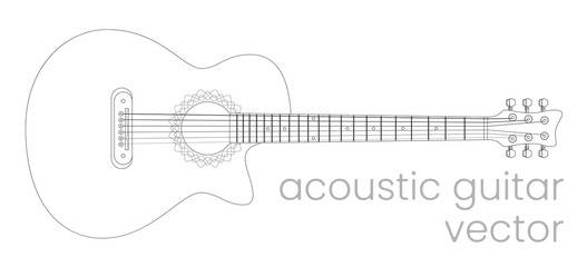 Acoustic guitar illustration. Music instrument. Vector line sketch