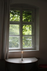 candle and window