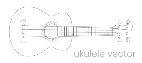 Ukulele guitar illustration. Music instrument. Vector line sketch
