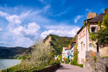The medieval town of Dürnstein along the Danube River in the picturesque Wachau Valley, a UNESCO World Heritage Site, in Lower Austria