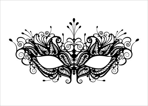 Carnival mask icon black silhouette isolated on white background. laser cut mask with Venetian embroidery floral decoration. Vector illustration design