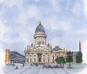 Watercolor painting - Deutscher Dom Gendarmenmarkt 040319