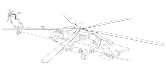 Blueprint of helicopter. Vector wireframe concept. Blue purple. Created illustration of 3d
