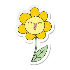 sticker of a quirky hand drawn cartoon happy flower