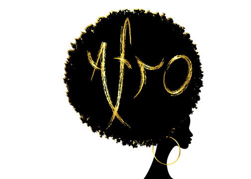 curly afro hair, portrait African Women , dark skin female face with curly hair afro, ethnic traditional golden earrings, hair style concept, Afro grunge gold text, vector isolated or white background
