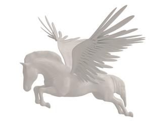 Pegasus majestic mythical greek winged horse isolated on white background. 3D illustration.