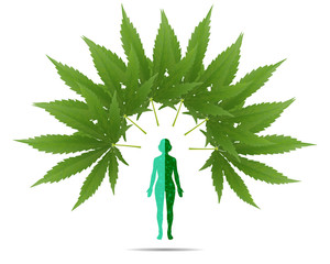 The woman stands on the green floor of the cannabis leaf.