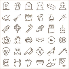 Simple Set of Halloween Related Line Icons.  Collection Of tombstone, witch hat, cat, vampire, scythe And Other Elements. customize color, stroke width control , easy resize.