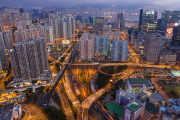 Top down view of Hong Kong Kowloon side at night