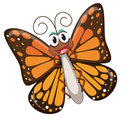 A happy butterfly character