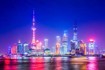 Night View of Shanghai Urban Architecture..