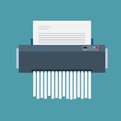 paper shredder confidential icon and private document office information protection. flat vector illustration