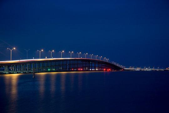 Queen Isabella Memorial Bridge in the Blue Hour from Port Isabel, Texas