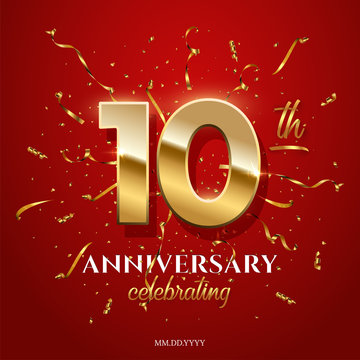 10 golden numbers and Anniversary Celebrating text with golden serpentine and confetti on red background. Vector tenth anniversary celebration event square template.