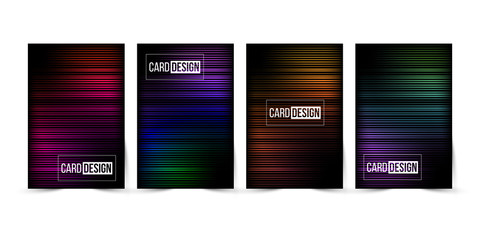 Abstract gradient striped trendy color background set