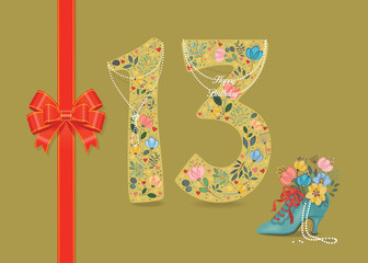 Yellow number Thirteen with folk floral decor. Pearl collar with texts as pendants - Happy Birthday. Red satin ribbon with bow. Blue retro shoe with floral bouquet and beads. Illustration