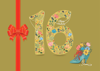 Yellow number Sixteen with folk floral decor. Pearl collar with texts as pendants - Happy Birthday. Red satin ribbon with bow. Blue retro shoe with floral bouquet and beads. Illustration