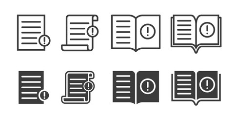 Guide booklet and user guidance reference icons. Vector book or information document web icons