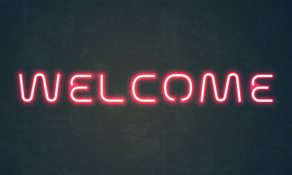 Welcome neon light sign. Vector red neon signage of glowing welcome letters on grunge wall background